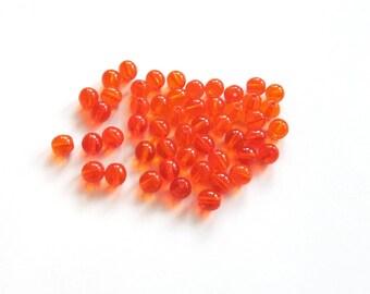 Smooth Hyacinth Orange Round Czech Glass Druk Beads, 6mm - 50 pieces