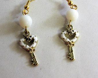 White Heart Key Earrings