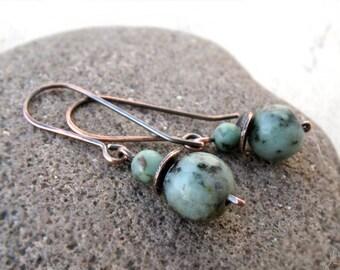 African Turquoise Earrings, Dangle Cooper Earrings, Boho Earrings, Green Gemstone Earrings, Throat Chakra, Prosperity Stone, Gift for Her