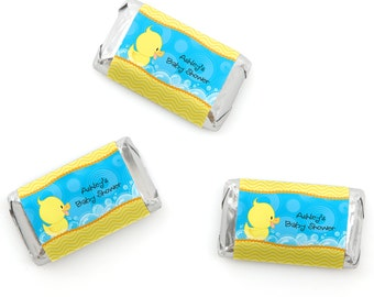 Ducky Duck Mini Candy Bar Wrappers - Personalized Baby Shower & Birthday Party Hershey® Miniature Candy Bar Sticker Labels - Duck - 20 Ct