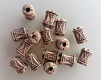 15 blackened copper color plastic beads