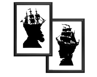 Captain Nautical Silhouette Print Set Pirate Ship Black and White Beach House Decor