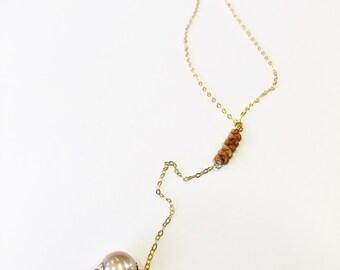 Kauai Ni'ihau shell lariat bar necklace featuring a edison pearl in 14k gold fill