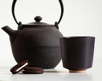 KUBO Coffee Cup, Charcoal Glaze | Ceramic Espresso Cup, Small Coffee Cup, Espresso Coffee Set, Coffee Lover, Black Coffee, Tea Cup, Tea Mug