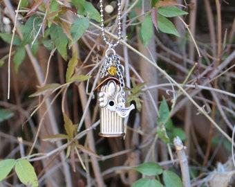 Birdhouse Necklace Pendant Silver Plated Vintage Knife Handle  Repurposed Flatware Astrid Pattern