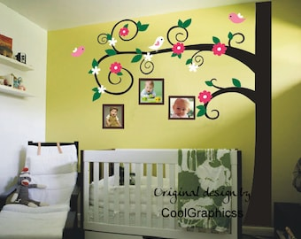 Wall decal nursery  tree branch wall decals birds vinyl wall art flowers wall mural - flower tree with photo frames