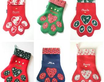 Pet. Animal. Cat. Dog. Paw. Christmas. Stocking. Personalised. Handmade. Hessian.
