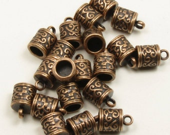 12 TIBETAN STYLE CORD Ends-Antique Copper-13mm x 7mm with 5mm Hole-Glue In Cord Tips-12 Pieces
