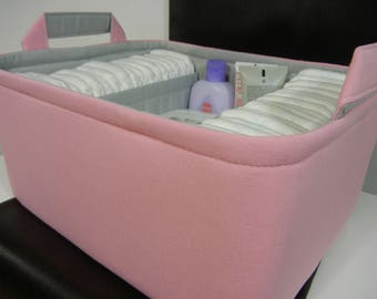 "Ex Large-Diaper Caddy-14""x 10""x 7""(CHOOSE Basket & Lining COLOR)Two Dividers-Fabric Storage Basket Bin-""Pastel Pink"""