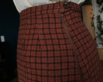 1960s rust plaid pleated skirt (XS-S)