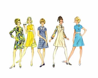 SALE 1960s McCalls 9664 Misses Dress or Jumper Vintage Sewing Pattern Size 12 Bust 34 UNcut