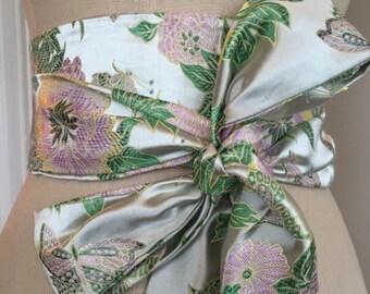 Pale green brocade obi sash, wedding obi belt, satin green pink obi sash belt , asian brocade belt, bridal sash , reversible obi