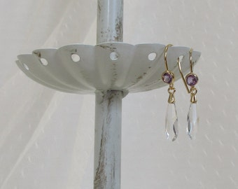 Beautiful Quality Crystal and Genuine Amethyst Earrings, Gold-Filled Earwires, Victorian, Civil War Appropriate - Affordable Elegance
