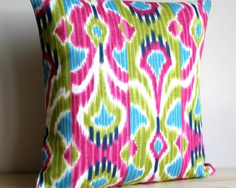 16x16, 18x18, Ikat Pillow Cover, Decorative Pillow Covers, Ikat Pillow Shams, Ikat Cushion Cover, Green and Pink Pillows - Ikat Wave Cerise