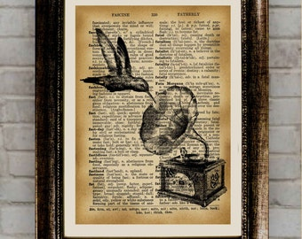 Hummingbird art Bird print  Wildlife wall decor Dictionary poster RPB371