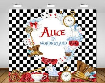 Printable Alice in Wonderland Backdrop, Alice in Wonderland Birthday Party, 1st Birthday, Baby Shower, Birthday Party Decor, Poster, Banner