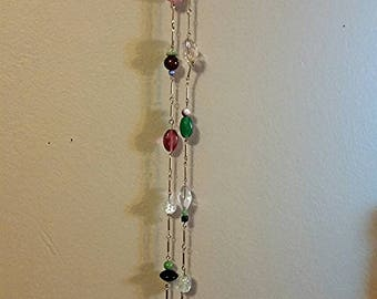 Long beaded chain link necklace