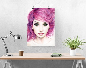 Watercolor Painting Art Print, Beautiful Girl with Magenta Hair, Giclee, Colorful Home Decor