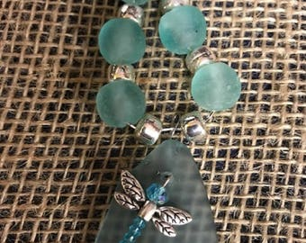 Sea Glass and African Glass Bead Necklace