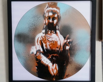 Kwan Yin Goddess of Compassion Stencil On Vinyl Record