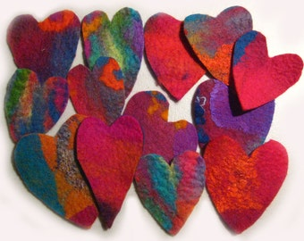10  Lovely Hearts - Handmade Felt