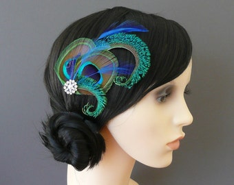 Peacock Feather Hair Clip Royal Blue Fascinator 1920's Flapper Bridesmaid Gift Hair Accessory Pearl Crystal Wedding Bridesmaids 'Althea'