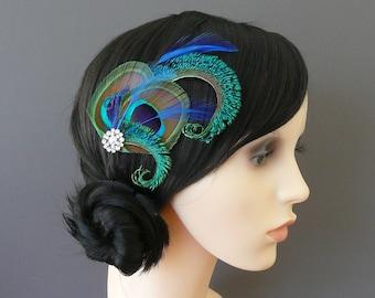 Peacock Feather Hair Clip Royal Blue Fascinator 1920's Flapper Bridesmaid Gift Hair Accessory Pearl Crystal Wedding Bridesmaids 'Althea'
