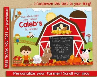 Fall farm birthday invitation / fall farm birthday party invitation / Fall birthday invitation