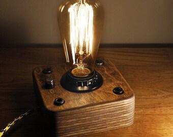 Wooden Edison Lamp Industrial lamp Steampunk lamp  Night Lamp Edison Bulb