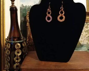 Hand Hammered Copper Washer Earrings