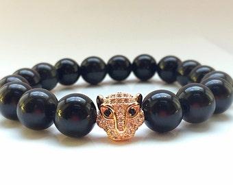18kt Rose Gold Leopard Head, 11mm CZ Diamond Bead With 10mm Glossy Black Onyx Bracelet, Black Onyx Beads, Men's or Women's