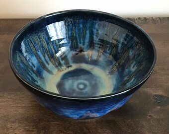 Handmade, wheel thrown, stoneware serving bowl, blue, green, black and gold