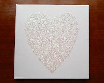 Large Glitter Heart Canvas