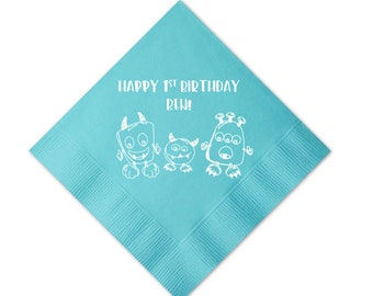 Monster Birthday Personalized Napkins - First Birthday - Monster Birthday Napkins, Boy Birthday Napkins, Monster Napkins