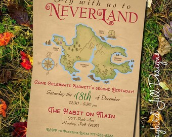Neverland Birthday Party Invitation / Peter Pan Party / Treasure Map / Peter Pan Birthday / Lost Boys Birthday / Neverland Party Printable