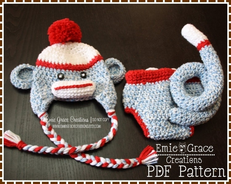 Crochet Sock Monkey Hat And Diaper Cover Pattern Classic