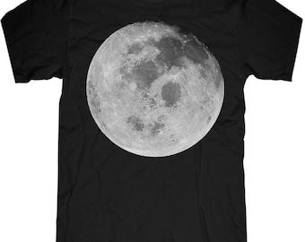 MOON SHIRT Mens t shirt -- 2 color options -- black and vintage black -- sizes sm med lg xl xxl skip n whistle