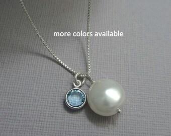 Pearl Necklace, Birthstone Necklace, Bridesmaid Necklace, Bridesmaid Gift Necklace, Bachelorette Party Gift, Wedding Necklace