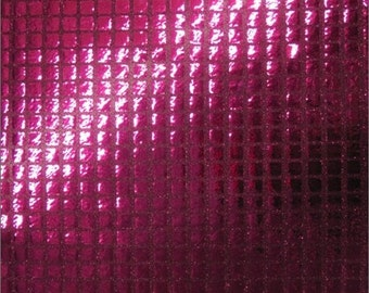 Square Sequins Hologram Fabric - FUCHSIA - Sold By Yard Purse Wallet Dress Phone Cover Accessories