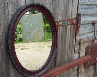 Vintage Oval Painted Oval Wall Mirror.