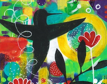 Joy Blackbird -041-Mixed Media Painting by Carianne James