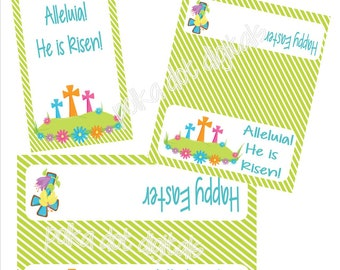 Easter HE IS RISEN Treat Bag Toppers Tags diy Party Favor Bags Religious