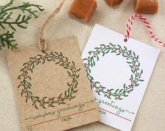 Wreath Holiday Gift Tags, Gift Tags, Christmas Gift Tags, Seasons Greetings Gift Tag, Set of 10