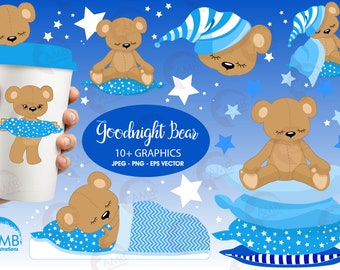 Teddy Bear Clipart, Baby Boy Nursery clipart, Slumber Party, Baby Boy, Baby Bear, Baby Shower, Commercial Use, AMB-982