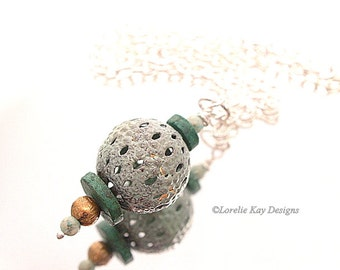 Enamel & Turquoise Necklace Torch Fire Enameled Bead One-of-a-Kind Handmade Pendant