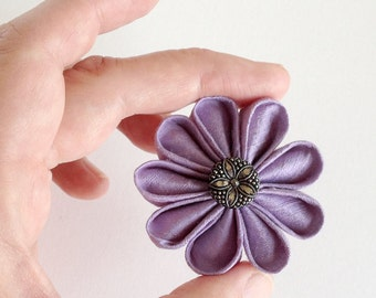 Small Silk Lapel Pin Lilac Boutonniere with Fancy Vintage Czech Glass Button