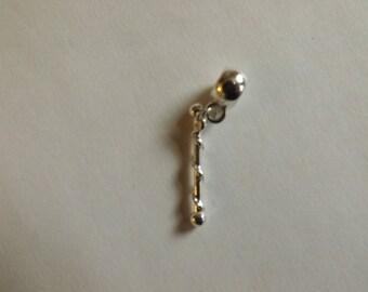 pretty silver cheerleader stick pendant