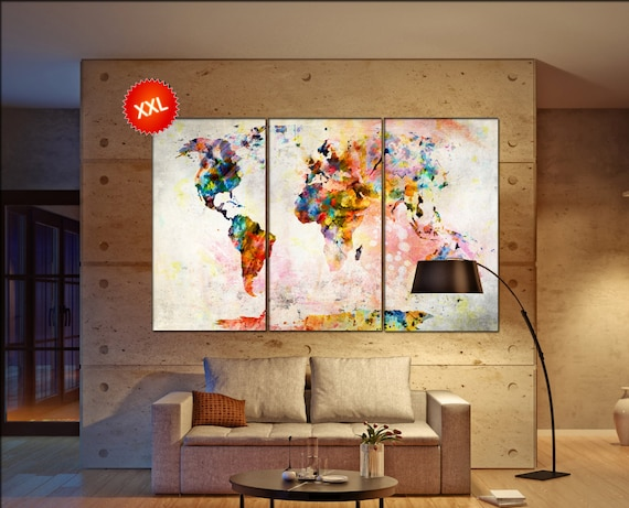 map   print on canvas wall art Large  map  print art artwork large world map  Print home office decoration