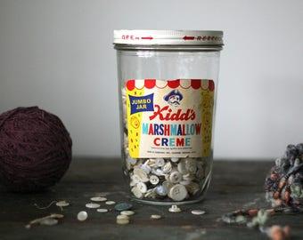 vintage retro kitchen jar // marshmallow creme // glass lidded storage jar
