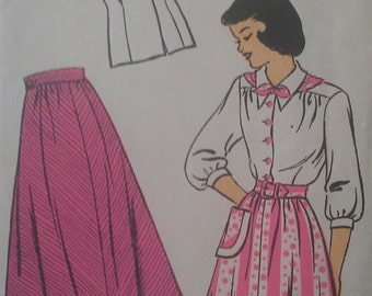 Vintage 50s  Teenage Pointed Peter Pan Collar Button Front Peplum  Blouse A Line Full Skirt Sewing Pattern 479 B28